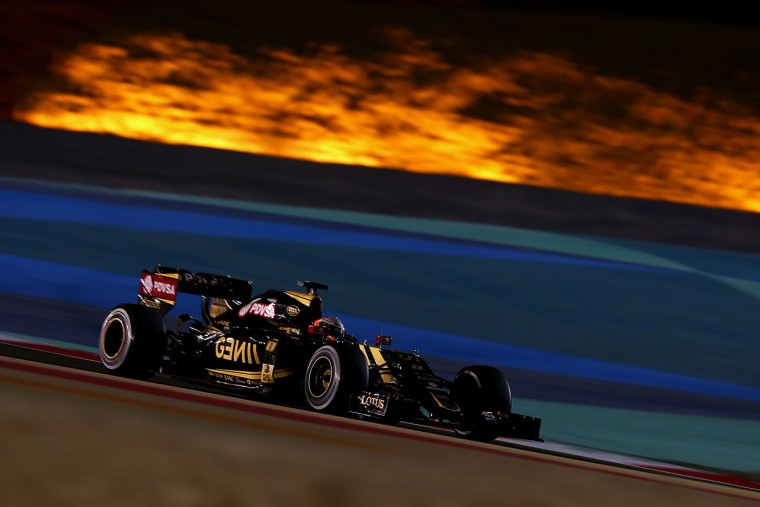Romain Grosjean of France and Lotus drives during the Bahrain Formula One Grand Prix at Bahrain International Circuit on April 19, 2015 in Bahrain, Bahrain. (Dan Istitene/Getty Images)