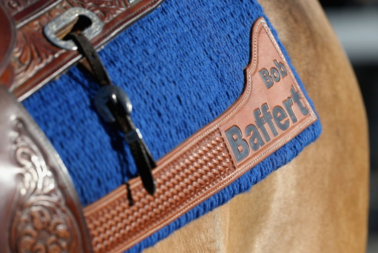 The saddle cloth on Bob Baffert's stable pony during the morning training for the Kentucky Derby at Churchill Downs on April 28, 2015 in Louisville, Kentucky. (Photo by Andy Lyons/Getty Images)