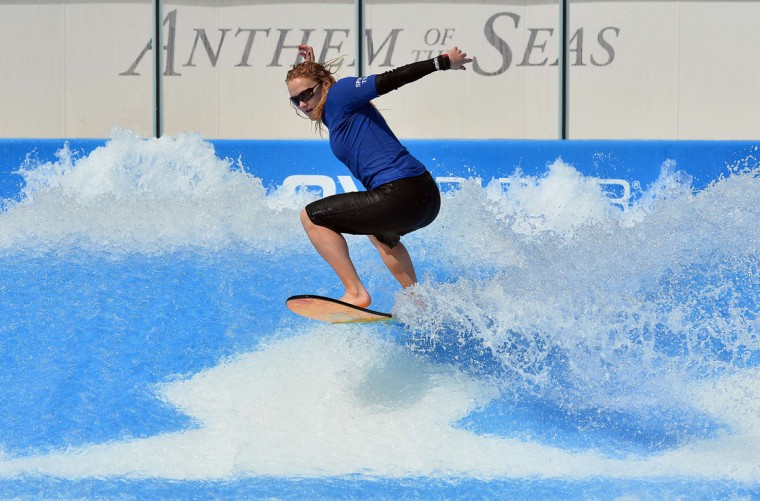 An instructor uses the flowrider on board the Royal Caribbean's latest cruise liner 'The Anthem Of The Seas', a 4,905-passenger ship which is docked in Southampton on April 20, 2015. (GLYN KIRK/AFP/Getty Images)