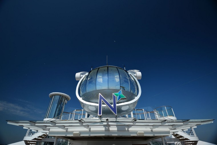 The North Star capsule on the top deck of Royal Caribbean's latest cruise liner 'The Anthem Of The Seas', a 4,905-passenger ship which is docked in Southampton on April 20, 2015. (GLYN KIRK/AFP/Getty Images)