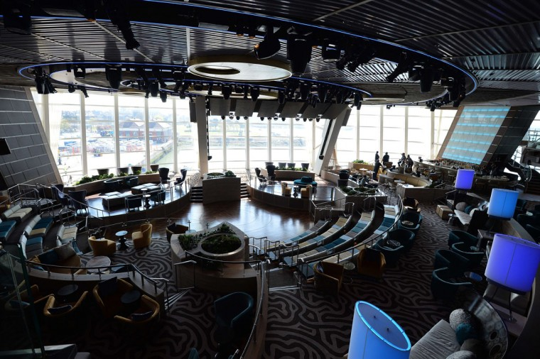 The 'Two70' lounge on the Royal Caribbean's latest cruise liner 'The Anthem Of The Seas', a 4,905-passenger ship which is docked in Southampton on April 20, 2015. (GLYN KIRK/AFP/Getty Images)