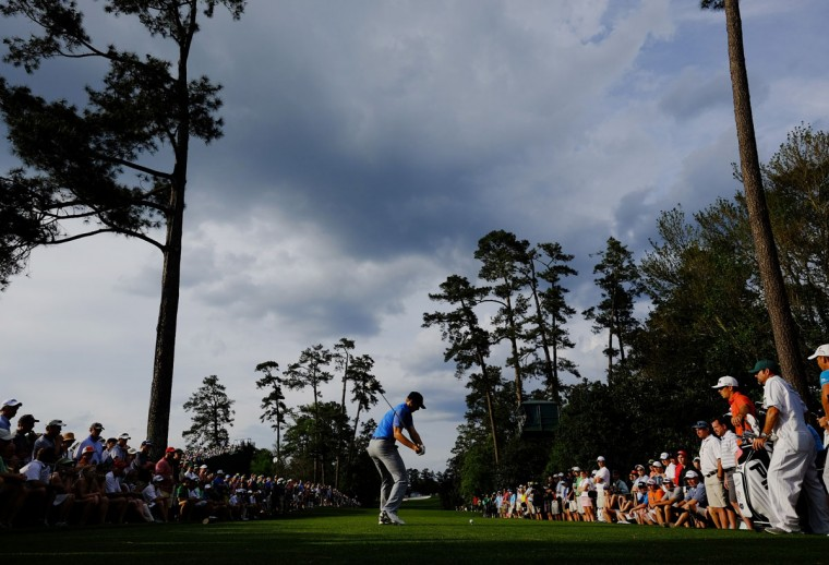 Jordan Spieth tees off on the 18th hole during the first round of the Masters golf tournament Thursday, April 9, 2015, in Augusta, Ga. (AP Photo/David J. Phillip)