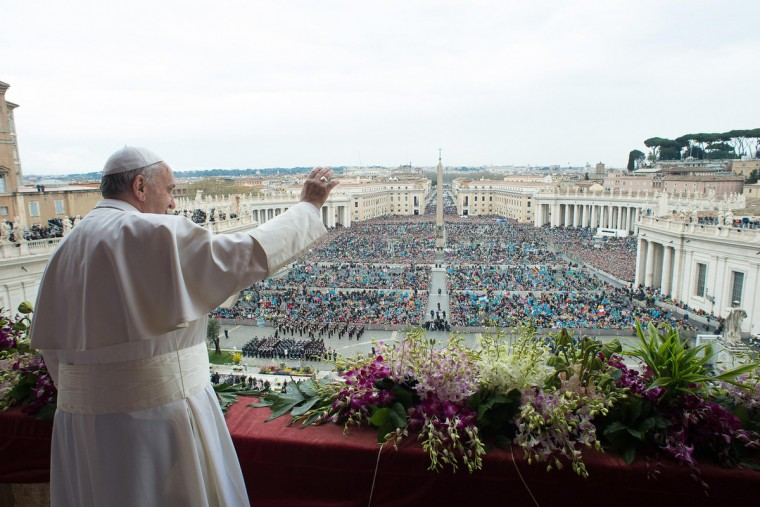 "Pope Francis delivers the Urbi et Orbi (to the city and to the world) blessing at the end of the Easter Sunday Mass in St. Peter's Square at the Vatican , Sunday, April 5, 2015. In an Easter peace wish, Pope Francis on Sunday praised the framework nuclear agreement with Iran as an opportunity to make the world safer, while expressing deep worry about bloodshed in Libya, Yemen, Syria, Iraq, Nigeria and elsewhere in Africa. Cautious hope ran through Francis' ""Urbi et Orbi"" Easter message, a kind of papal commentary on the state of the world's affairs, which he delivered from the central balcony of St. Peter's Square. L''Osservatore Romano/AP"