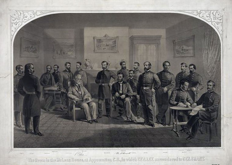 This image provided by the Library of Congress shows an artist rendering of the surrender of Confederate General Robert E. Lee to Union General Ulysses S. Grant in the front parlor of the McLean house at Appomattox Court House on April 9, 1865. A reenactment of the surrender will take place in Appomattox on April 9, 2015, to commemorate the 150th anniversary of the surrender. (AP Photo/Library of Congress Prints and Photographs Division, Kurz and Allison)