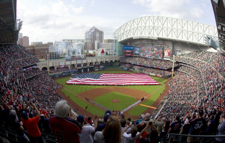 Minute Maid Park is seen prior to an Opening Day game between the Houston Astros and the Cleveland Indians Monday April 6, 2015, at Minute Maid Park in Houston. (AP Photo/ The Courier, Jason Fochtman)