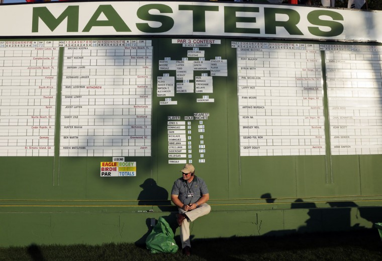 Scorekeeper Richard Muns sits under a leaderboard before the first round of the Masters golf tournament Thursday, April 9, 2015, in Augusta, Ga. (AP Photo/Charlie Riedel)