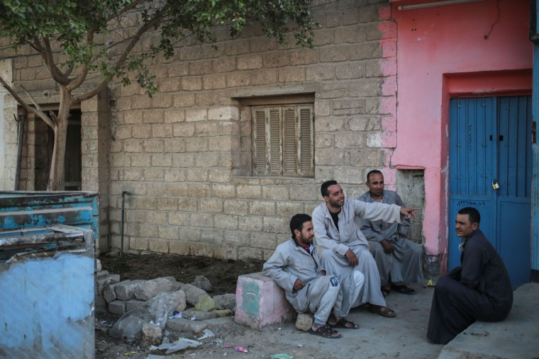 Quarry workers relax at the end of their work day in Tehna village, Minya, southern Egypt. (AP Photo/Mosa'ab Elshamy)