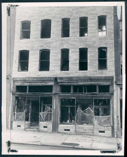 Fire gutted buildings remain in 1969. Baltimore Sun