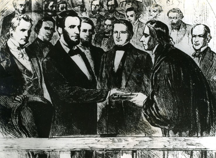 WASHINGTON, D.C. -- March 4, 1865 -- Abraham Lincoln's second Inauguration. Photograph from a painting of the second Inauguration of Abraham Lincoln as President of the United States. Mr. Lincoln is seen taking the oath of office at his Inaugural. Photo by unknown/file photo