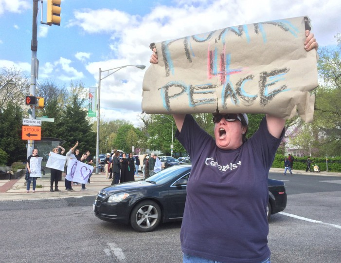 """A day after the riots in Baltimore, Lisa O'Reilly of the York Road Partnership holds a """"Honk for Peace"""" sign. (Amy Davis/Baltimore Sun)"""