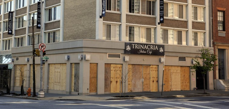 Trinacria Italian Cafe at Centre and Park is one of the businesses that were damaged in recent riots. (Barbara Haddock Taylor/Baltimore Sun)