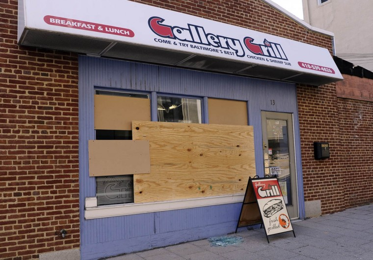 The Gallery Grill on Centre Street is one of the businesses that were damaged in recent riots. (Barbara Haddock Taylor/Baltimore Sun)