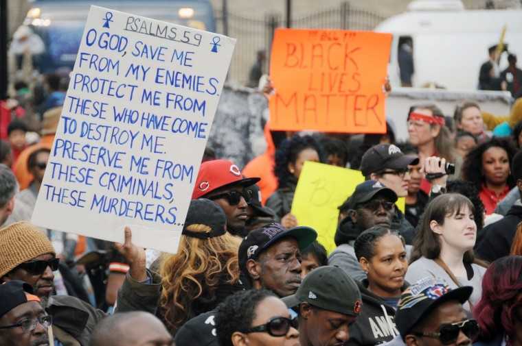 Demonstrators gather at CIty Hall after marching from Mount Street and Presbury Streets in Sandtown/WInchester where Freddie Gray was arrested. They are protesting the death of Gray in police custody. (Kim Hairston/The Baltimore Sun)