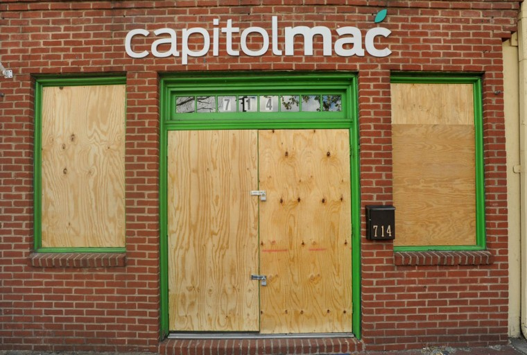 The capitolmac store, at 714 South Broadway in Fells Point was looted late on Monday night, into Tuesday morning, as rioting spread in the city. (Amy Davis/ Baltimore Sun)