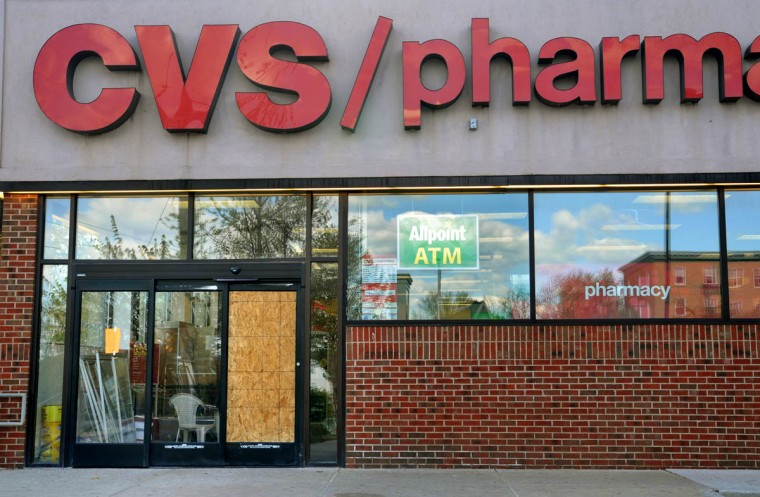 The CVS Pharmacy was one of about five businesses on York Road near Woodbourne Avenue in Govans that was looted on Monday night, as rioting spread in the aftermath of the Freddie Gray protests. (Amy Davis/ Baltimore Sun)