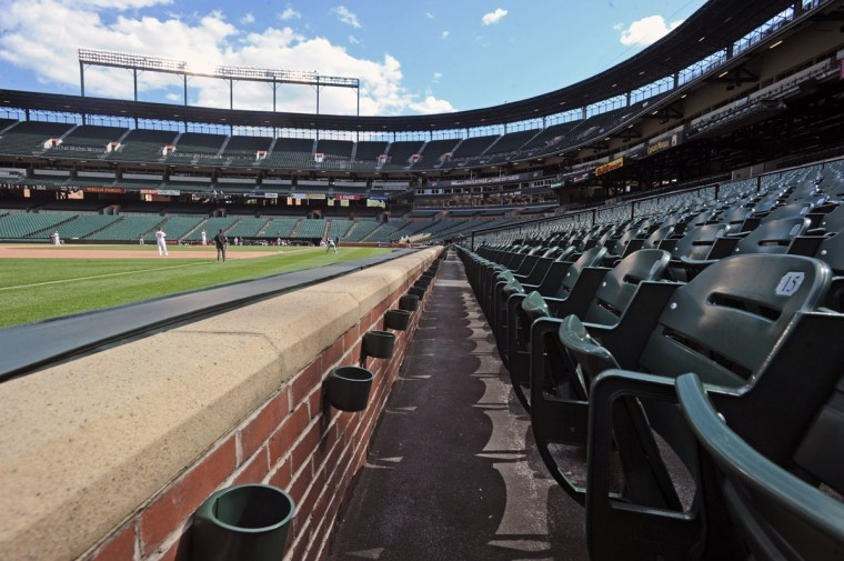 The Orioles defeated the Chicago White Sox by score of 8 to 2 in an empty Oriole Park at Camden Yards on Wednesday. The game was played in two hours and three minutes. The first two games of the series were cancelled due to the wide spread riots and looting on Monday in Baltimore resulting from protest over the death of Freddie Gray. (Kenneth K. Lam/Baltimore Sun)
