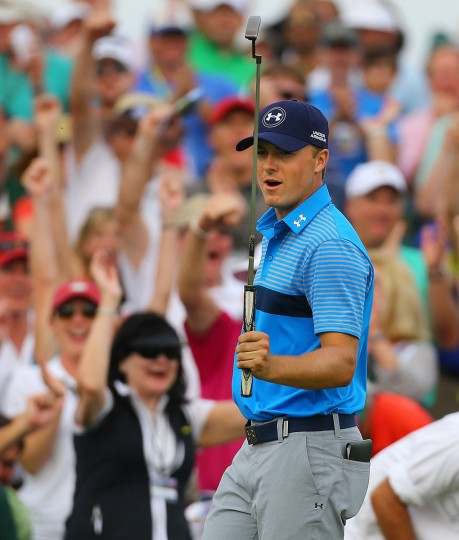 Jordan Spieth birdies the 18th hole during the first round at the Masters Golf Tournament, Thursday, April 9, 2015 in Augusta, Ga. (Curtis Compton/Atlanta Journal-Constitution/TNS)
