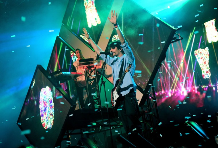 DJ Kygo (left) performs onstage during day 3 of the 2015 Coachella Valley Music & Arts Festival (Weekend 1) at the Empire Polo Club on April 12, 2015 in Indio, California. (Photo by Jason Kempin/Getty Images for Coachella)