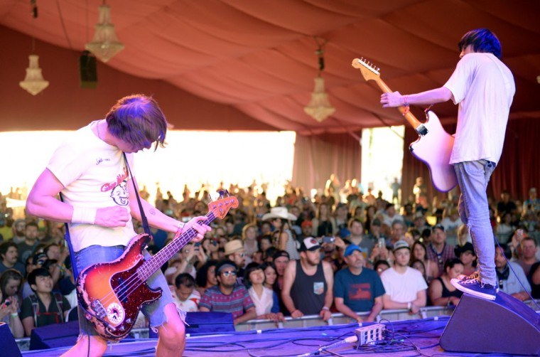 Musicians Gary Jarman (left) and Ryan Jarman of The Cribs perform onstage during day 3 of the 2015 Coachella Valley Music & Arts Festival (Weekend 1) at the Empire Polo Club on April 12, 2015 in Indio, California. (Photo by Matt Cowan/Getty Images for Coachella)