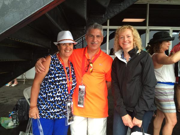 Every year since '92 they've had had adjoining seats at Preakness - Nydia and Jimmy Garcia and Mary Beth Friedel. (Jean Marbella/Baltimore Sun)