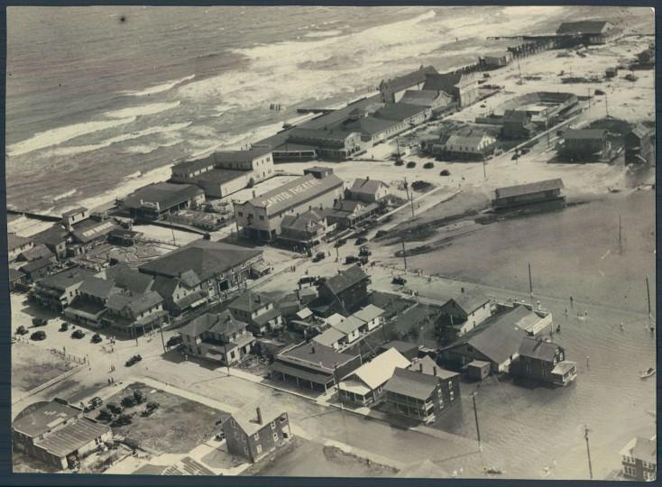 August 27, 1933: An air view of the storm-beaten Ocean City. Photo by Robert F. Kniesche.