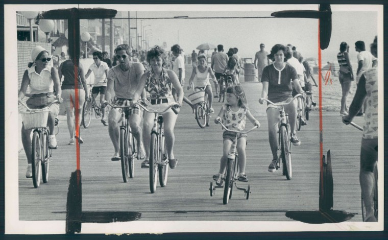 A warm, sunny morning brought out the bicyclists in Ocean City. Aug. 13, 1975.