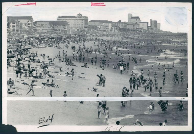 Throngs enjoy sun and surf at Ocean City. August 18, 1978.