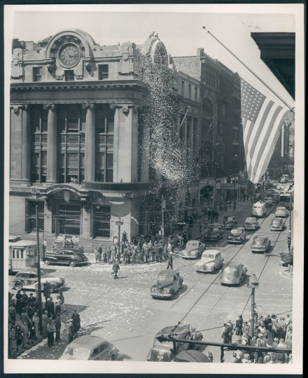 Looking towards Chase and Baltimore Street at the at the Victory in Europe celebration. (Baltimore Sun archives)