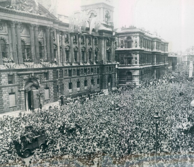 The general scene in Whitehall on V-E Day shortly after German surrender. (AP Wirephoto)