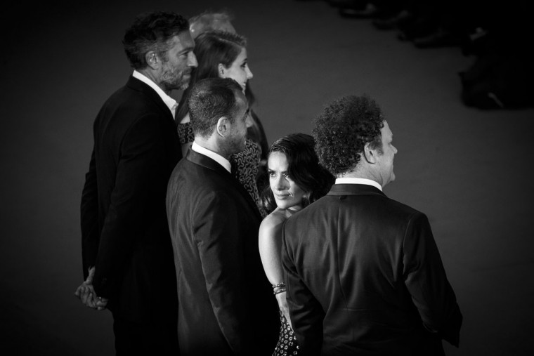 An alternative view of Toby Jones, Bebe Cave, Vincent Cassel, Mateo Garrone, Salma Hayek and John C. Reilly as they attend the Premiere of 'Il Racconto Dei Racconti' ('Tale Of Tales') during the 68th annual Cannes Film Festival on May 14, 2015 in Cannes, France. (Photo by Tristan Fewings/Getty Images)