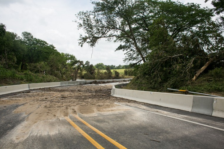 Storm destruction along the Blanco River May 26, 2015 in San Marcos, Texas. Central Texas has been inundated with tornadoes and flash flooding the past several days. (Photo by Drew Anthony Smith/Getty Images)