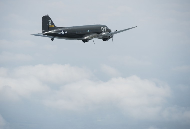 A Douglas C-53 Skytrooper airplane does a practice flight near Culpeper Regional Airport in Brandy Station, Virginia, May 7, 2015. Dozens of World War II era planes will fly past the National Mall in Washington, DC, on May 8, during the Arsenal of Democracy World War II Victory Capitol Flyover to commemorate the 70th anniversary of Victory in Europe (VE) Day.(Saul Loeb/AFP/Getty Images)