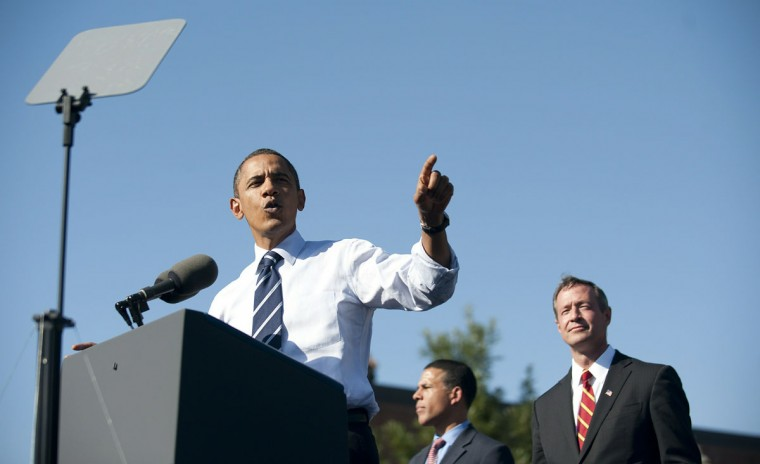 US President Barack Obama speaks at a rally at Bowie State University in Bowie, Maryland on October 7, 2010, for incumbent Maryland Governor Martin O'Malley (R). AFP PHOTO/Jim WATSON (Photo credit should read JIM WATSON/AFP/Getty Images)