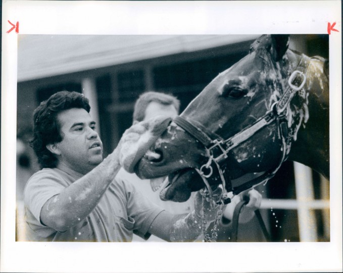"""Honor Grades"" gets a bath from Antonio Soto before the 1991 Preakness. (Rader/Baltimore Sun, 1991)"