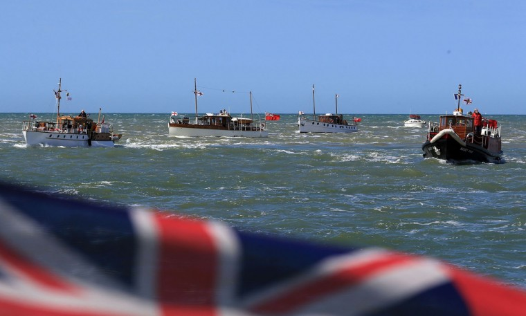The Little Ships en route to Dunkirk, France, to mark the 75th anniversary of Operation Dynamo Thursday May 21, 2015. Hundreds of fishing boats, pleasure yachts and lifeboats crossed the Channel from southern England between May 26 and June 4 1940 to help evacuate British and Allied forces from the beaches of northern France. Over 330,000 British and Allied troops were rescued. (Gareth Fuller/PA via AP)