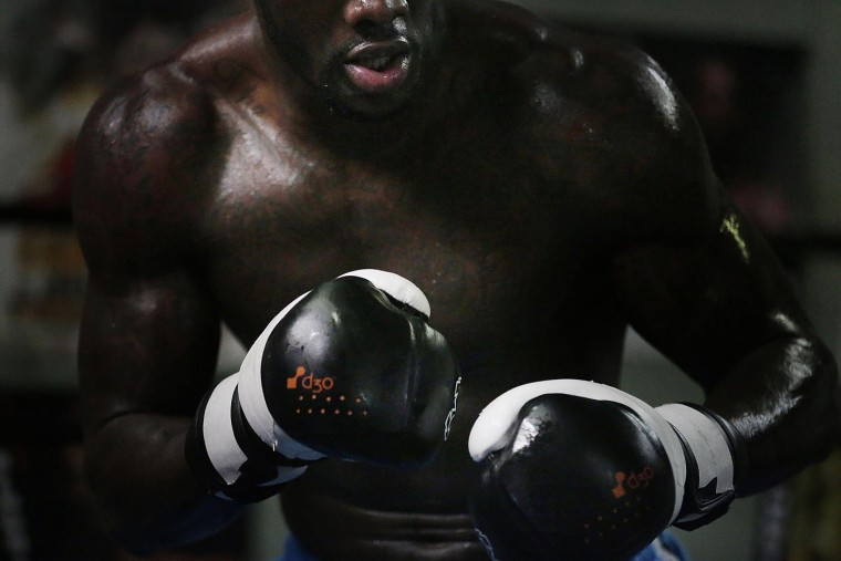 WBC heavyweight boxing champion Deontay Wilder works out at Skyy Boxing Gym on Thursday, May 28, 2015, in Northport, Ala. Wilder is preparing for his first title defense, when he takes on Eric Molina on Saturday, June 13 in Birmingham. (AP Photo/Brynn Anderson)