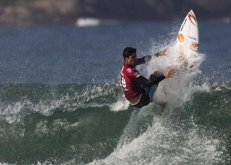 Brazil's Gabriel Medina competes in the in the 2015 Oi Rio Pro World Surf League competition at Barra da Tijuca beach in Rio de Janeiro, Brazil, Tuesday, May 12, 2015. (AP Photo/Leo Correa)