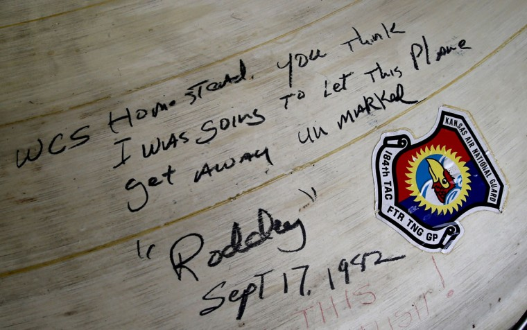 "A farewell message written by a crew member named ""Roddy"" and dated Sept. 17, 1982, is shown inside the nose cone of an F4 Phantom stored at the 309th Aerospace Maintenance and Regeneration Group boneyard, Thursday, May 21, 2015, in Tucson, Ariz. The 309th is the United States Air Forceís aircraft and missile storage and maintenance facility and provides long and short-term aircraft storage, parts reclamation and disposal. (AP Photo/Matt York)"