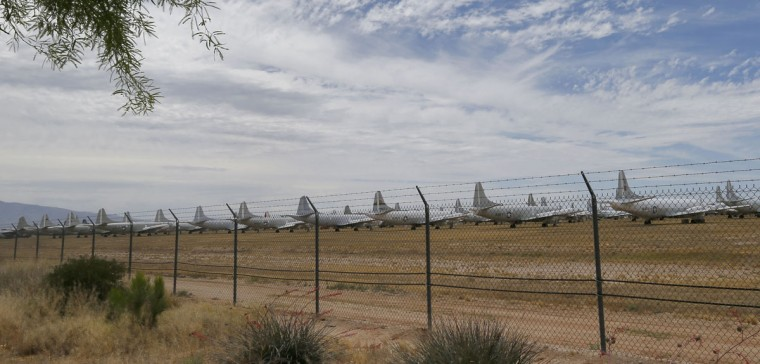Military aircraft are stored at the 309th Aerospace Maintenance and Regeneration Group boneyard, Thursday, May 21, 2015, in Tucson, Ariz. The 309th is the United States Air Forceís aircraft and missile storage and maintenance facility and provides long and short-term aircraft storage, parts reclamation and disposal. (AP Photo/Matt York)