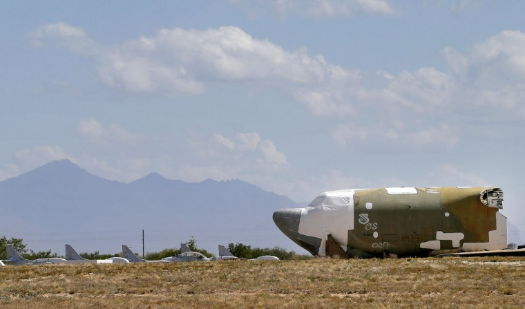 A Boeing B-52 Stratofortress is seen chopped up per the New START Treaty (Strategic Arms Reduction Treaty) with Russia, at the 309th Aerospace Maintenance and Regeneration Group boneyard Thursday, May 14, 2015 at Davis-Monthan Air Force Base in Tucson, Ariz. The United States cut the tails off the 39 aircraft in order to remove the B-52G models from treaty accountability, as they still count as nuclear-capable delivery platforms with their tails attached. (AP Photo/Matt York)