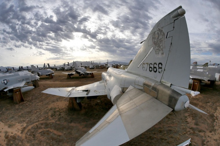 F-4 Phantoms are stored at the 309th Aerospace Maintenance and Regeneration Group boneyard, Thursday, May 21, 2015, in Tucson, Ariz. The 309th is the United States Air Forceís aircraft and missile storage and maintenance facility and provides long and short-term aircraft storage, parts reclamation and disposal. (AP Photo/Matt York)