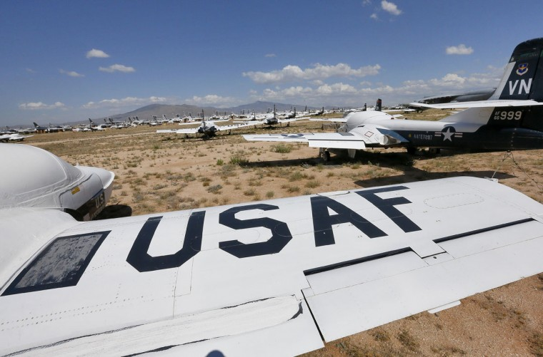 A field of U.S. Air Force Cessna T-37 Tweet aircraft are shown at the 309th Aerospace Maintenance and Regeneration Group boneyard, Thursday, May 14, 2015 at Davis-Monthan Air Force Base in Tucson, Ariz. The 309th is the United States Air Forceís aircraft and missile storage and maintenance facility and provides long and short-term aircraft storage, parts reclamation and disposal. (AP Photo/Matt York)