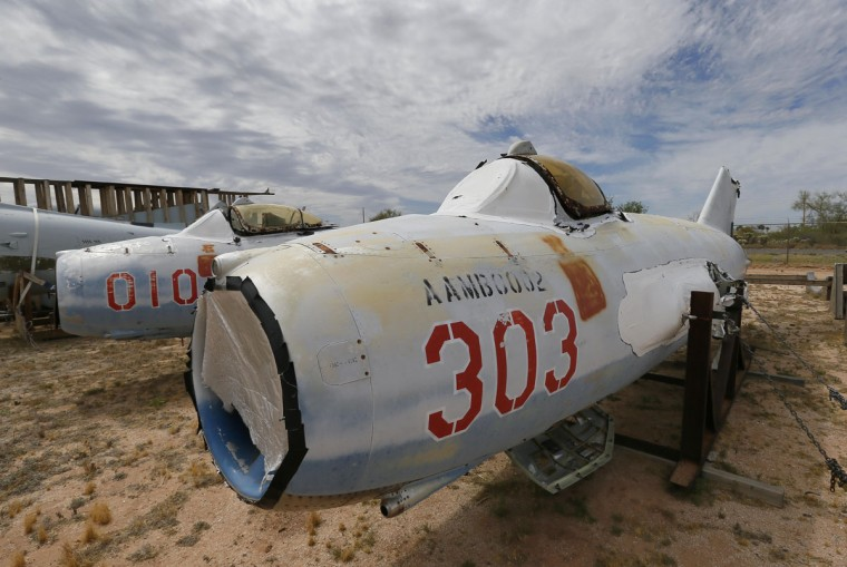 Two Polish LiM 5's,licensed copies of Soviet MiG 17's, are stored at the 309th Aerospace Maintenance and Regeneration Group boneyard, Thursday, May 21, 2015, in Tucson, Ariz. The fighter jets belong to the National Museum of the USAF located at Wright-Patterson AFB, Dayton Ohio. (AP Photo/Matt York)