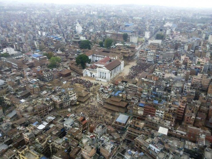 This aerial photo provided by Shreejan Bhandari, shows Basantapur Durbar Square, in Kathmandu, Nepal, Monday, April 27, 2015. A strong magnitude earthquake shook Nepalís capital and the densely populated Kathmandu valley on Saturday devastating the region and leaving tens of thousands shell-shocked and sleeping in streets. (Shreejan Bhandari via AP)