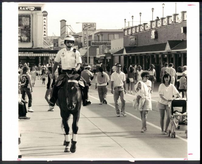 Mounted police on the Ocean City boardwalk, 1989