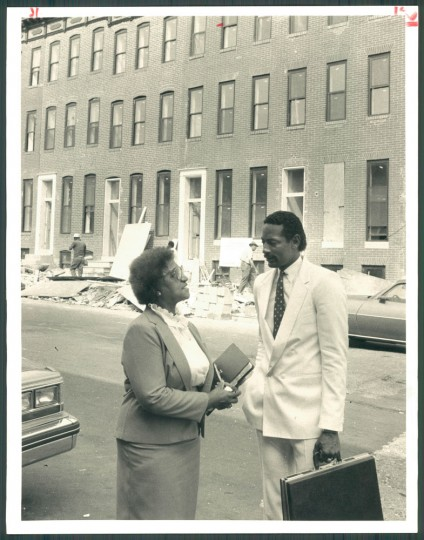1983: Maggie Quille, Bil McIntyre with homes being rehabbed in the 500 Laurens St.