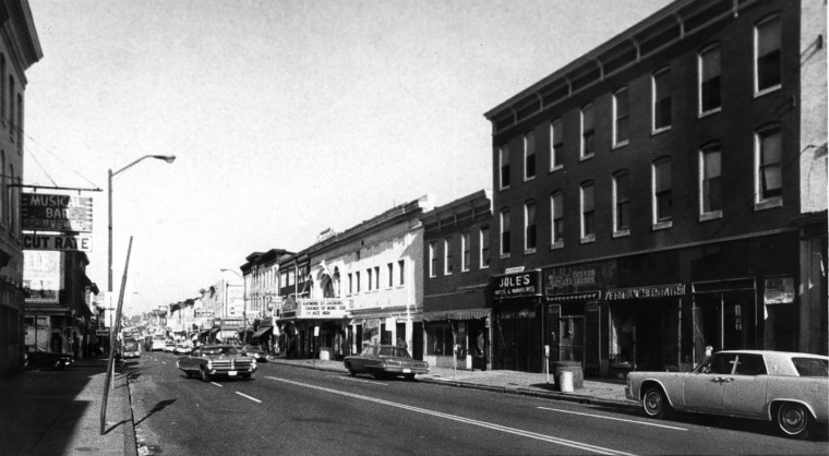 Pennsylvania avenue, shown here north from Pitcher street, was the focus of the Upton Urban renewal program. The area roughly forms a triangle from Bloom street, down Fremont avenue to George street, to Biddle street to McCulloh street. The program is for the people of low income who now live there, or others like them. (Baltimore Sun, undated)