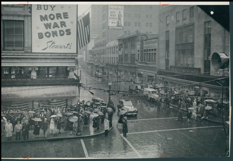 Photo made on May 8th 1945 during Presidents Truman's Address at Howard and Lexington Streets. (A Aubrey Bodine/Baltimore Sun)