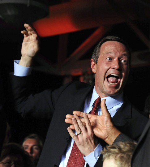 Maryland Gov. Martin O'Malley celebrates after giving victory speech at the American Visionary Arts Museum in Baltimore after defeating Republican challenger Robert Ehrlich Jr., to win re-election for another term in office. (Kenneth K. Lam, Baltimore Sun)