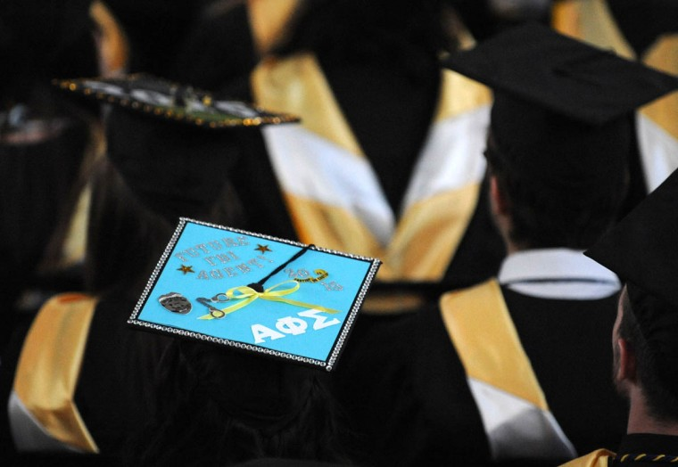 CSI - On Commencement Day, Towson University graduates express their creativity by decorating their mortarboards with messages of thanks to parents, friends, the Almighty, and even coffee. (Algerina Perna/Baltimore Sun)